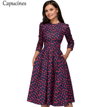 Capucines Elegant Pockets Print A-line Dress Autumn 2019 Women 3/4 Sleeves O-neck Casual Dress for Women Vintage Party Dresses - DISCOUNT ITEM  30 OFF Women\'s Clothing