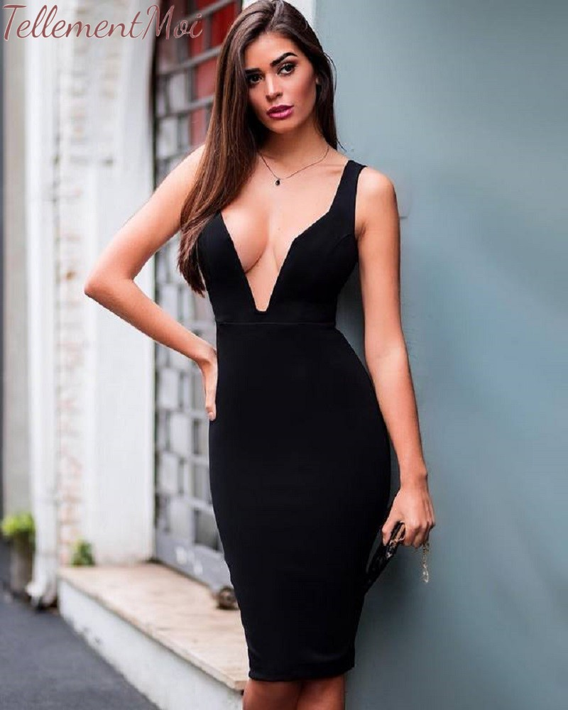 Women Bandage Dress Sexy Deep V Neck Sleeveless Night Out Club Cocktail Party Dresses Bodycon Backless Dress with Knee Length
