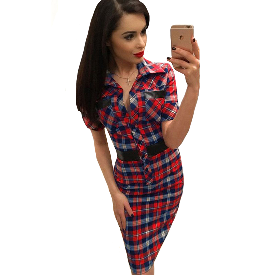 Red Blue Plaid Patchwork Mid Party Dresses Women Turn Down Collar Short Sleeve Sexy Summer Dress