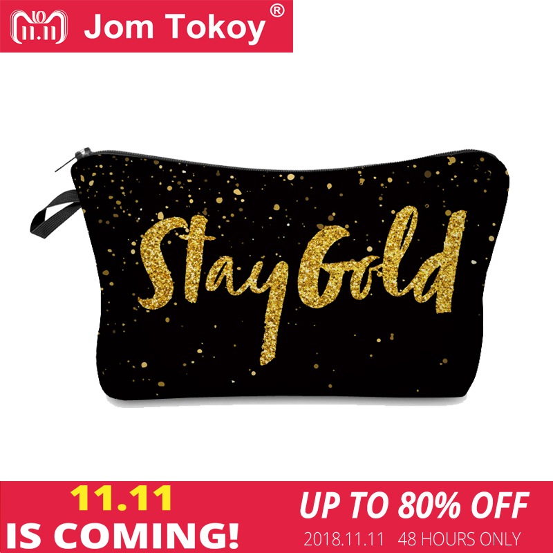 Jom Tokoy 2018 cosmetic organizer bag 3D Printing Golden alphabet makeup bag Fashion Women Brand Cosmetic Bag unicorn 3d printing fashion makeup bag maleta de maquiagem cosmetic bag necessaire bags organizer party neceser maquillaje