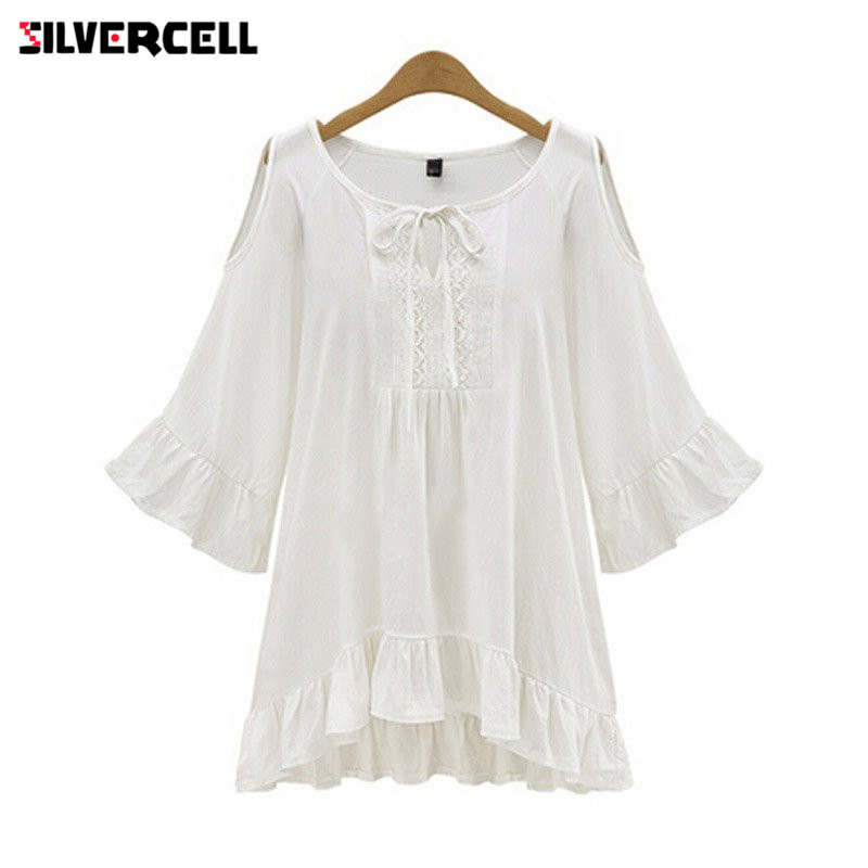SILVERCELL Ruffle Blouse for Women Lace Loose Large Size Blouse Short Sleeve Flare Sleeve Blusas Casual Shirt Top Female XL-5XL