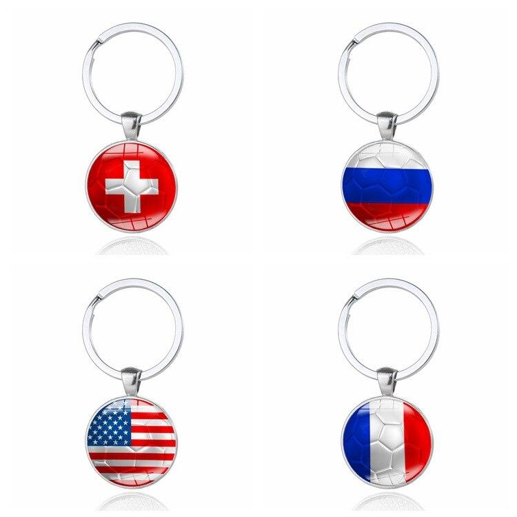1 Piece Gift Football Keychain National Flag Time Gems Car Styling Custom