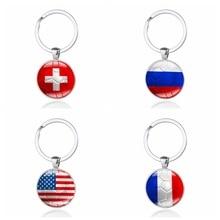 купить 1 Piece Gift Football Keychain National Flag Football Time Gems Car Styling Keychain Custom онлайн