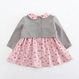 Image 4 - בגדי תינוקות פעוט ילדי תינוק בנות שמלת מקשה אחת ארוך שרוול פיטר פן צווארון פרחי הדפסת מסיבת נסיכת שמלת 2 צבע 0 2Y