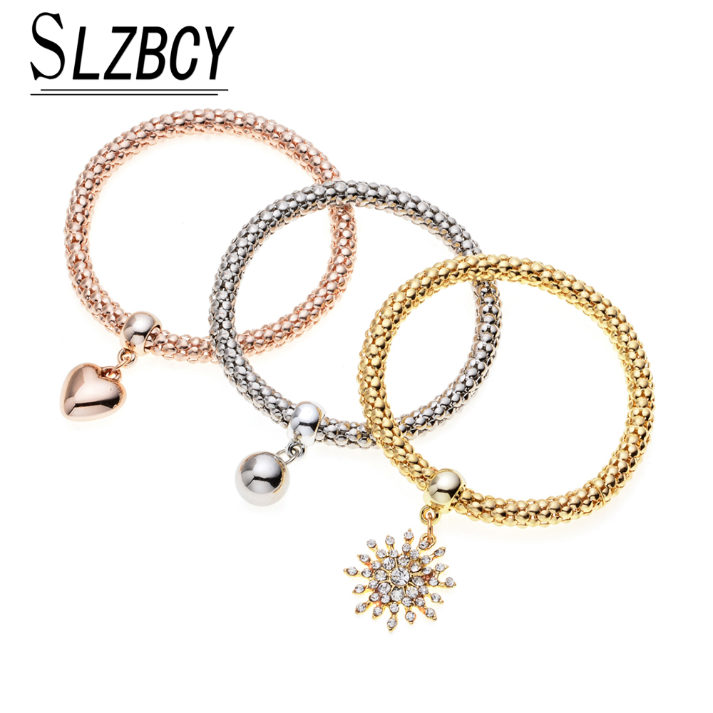 SLZBCY 3PcsSets Crystal Heart Elastic Charms Bracelets&Bangles for Women Man Adjustable Multilayer Wristband Wedding Jewelry