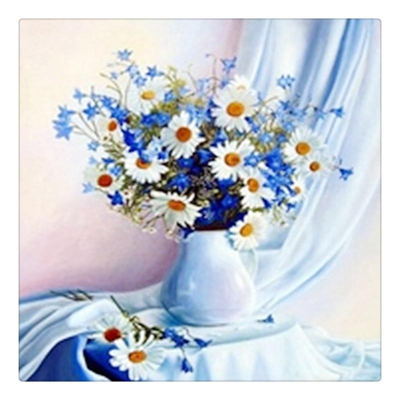 Diy เพชรภาพวาดดอกไม้เพชรคริสตัลปักครอสติตารางเพชรชุดที่ยังไม่เสร็จปักเพชรตกแต่ง ZX