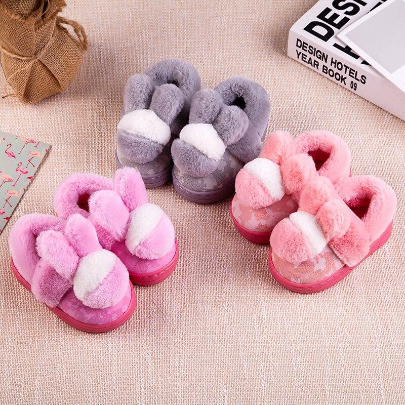 100% QualitäT Winter Kinder Baumwolle Slipper Schuhe Jungen/mädchen Slipper Mode Plüsch Erwärmung Hause Schuh Kinder Baby Samt Schuhe