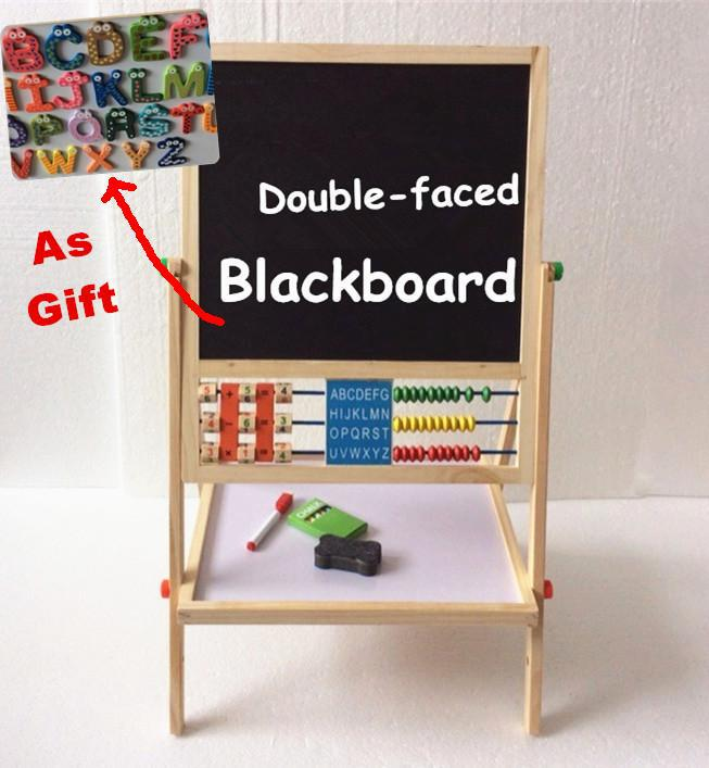 ФОТО Baby Toys Double Faced Educational Wooden Blackboard Multifuncation Children Drawin Board Gift For Child Large Send Fridges