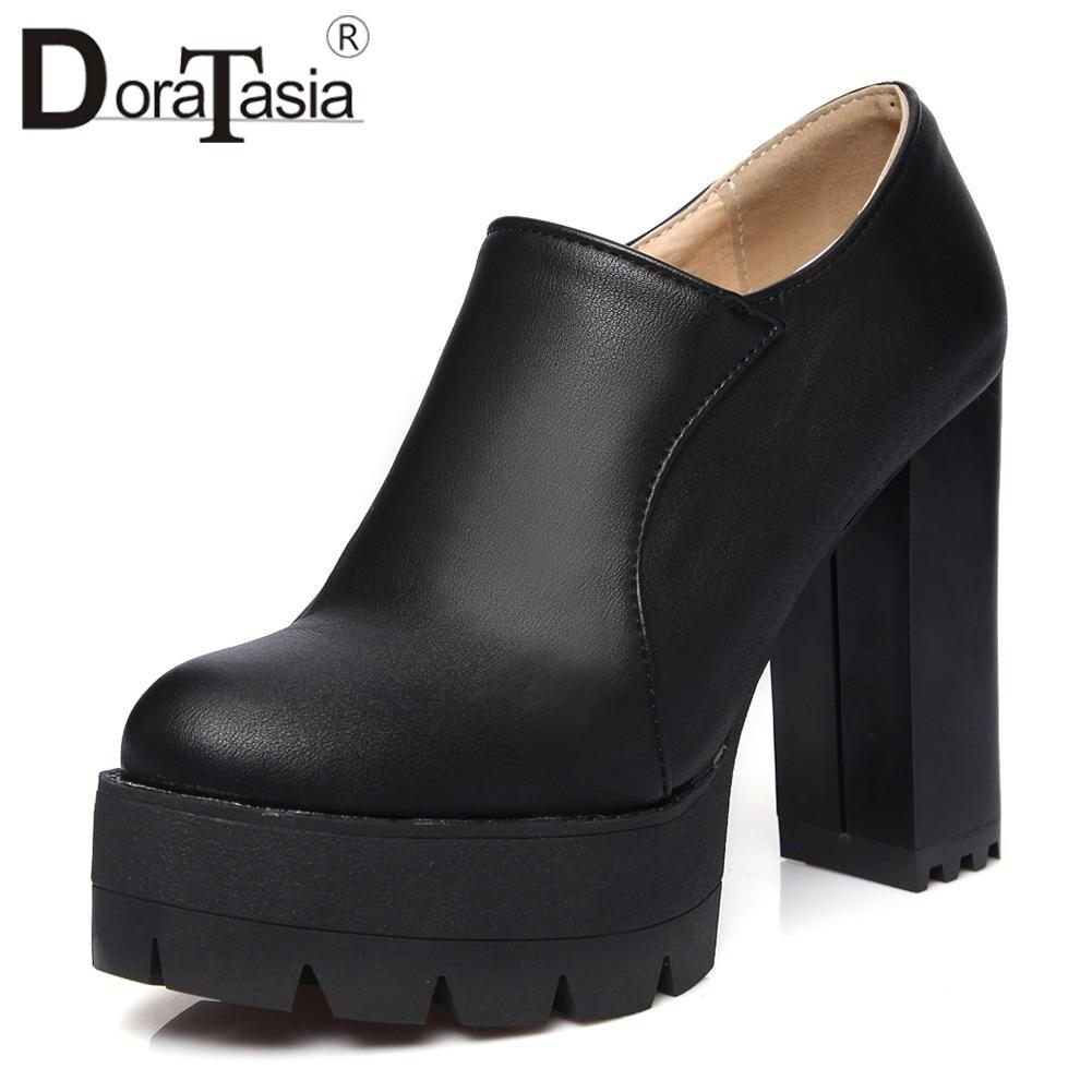 DoraTasia New Hot Sale Solid Zip Square High Heels Platform Shoes For Women Casual Autumn 2019 Pumps Big Size 34-43