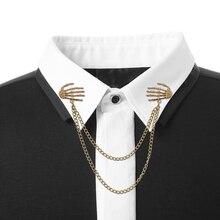 99f8c1aaf8ed 2019 de moda esqueleto broche Pin doble mano de calavera broche Punk Metal  joyería de capas borla cadena broches para las mujere.
