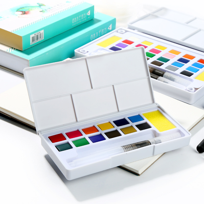 Solid Watercolor Paint 24/36 Color Student Painting Set Watercolor Painting Beginner 12 Color Plastic Boxed Art Supplies