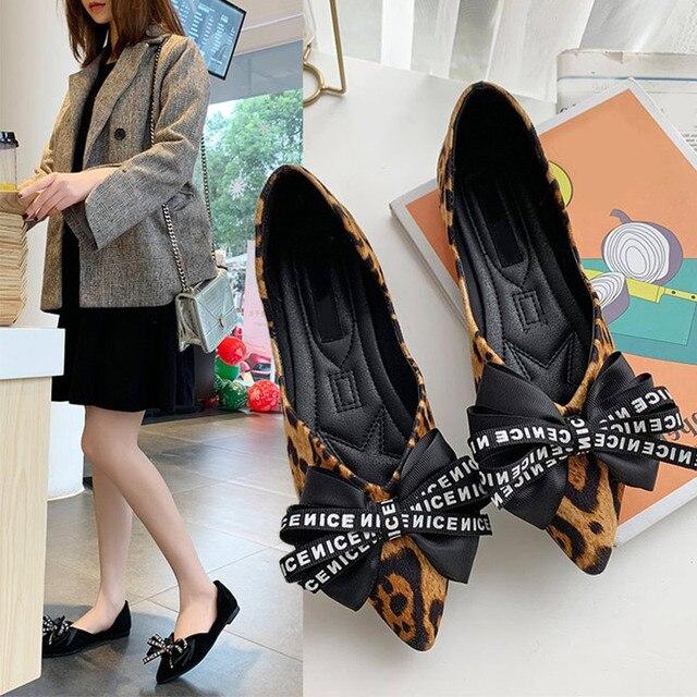 2019 новые женские милый большой бант-узел Туфли без каблуков с леопардовым принтом, острый носок женские лоферы Демисезонный модная повседневная обувь