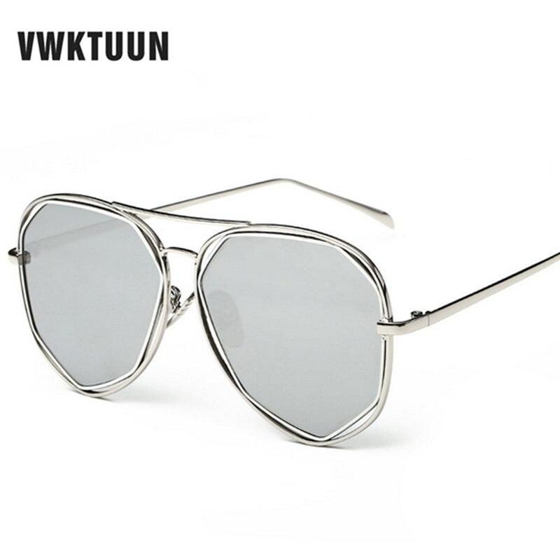 c304f14ab VWKTUUN النساء النظارات الشمسية العلامة التجارية مصمم مرآة عتيقة ظلال  التوأم-فريق طلاء حملق المرأة الصيف الظل نظارات شمسية Oculos