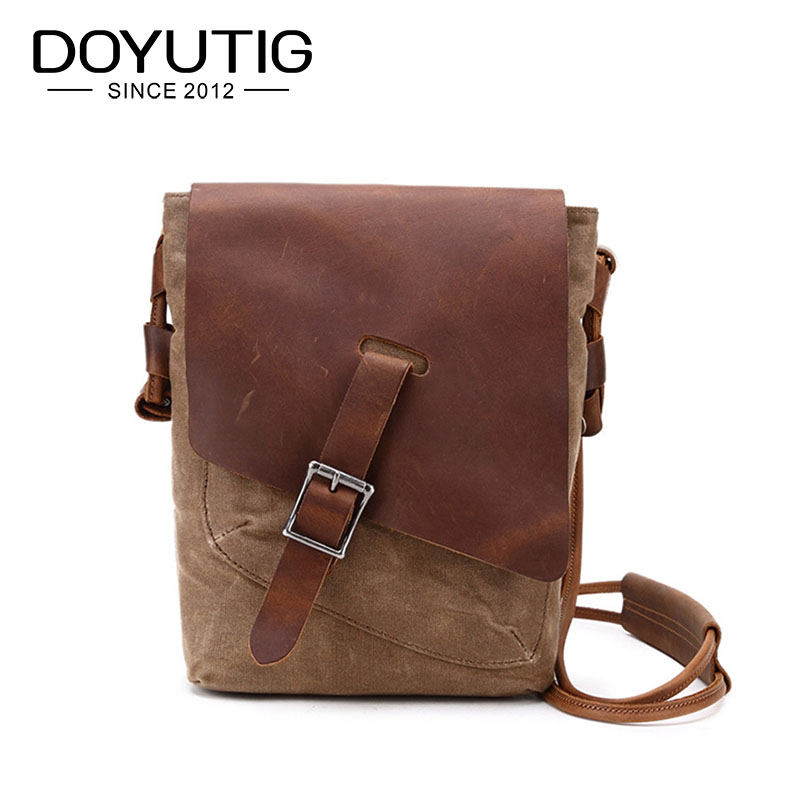 New Arrival Men Brown Crazy Horse Leather Crossbody Bags With European Style High Quality Casual Male Canvas Shoulder Bags H018New Arrival Men Brown Crazy Horse Leather Crossbody Bags With European Style High Quality Casual Male Canvas Shoulder Bags H018