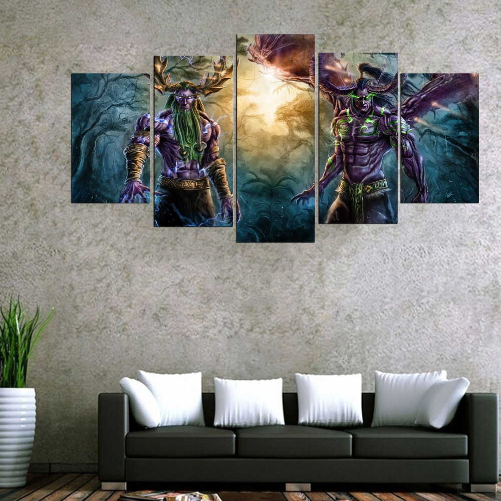 5 panel world of warcraft game poster wall art picture for Cadre multi photos mural