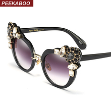 Peekaboo black cat eye sunglasses women crystal luxury fashion summer sun glasses for women cat eye sexy uv400