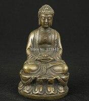 Hurtownie Azjatyckie Chiński Old Brąz Handwork Kolekcjonowania Casting Posąg Buddy Ornament w Posągi i rzeźby od Dom i ogród na