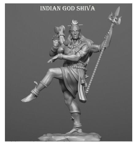 Unassambled 1/32 54Mm Oude Stand God Shiva 54Mm Resin Figuur Miniatuur Model Kits Unpainted