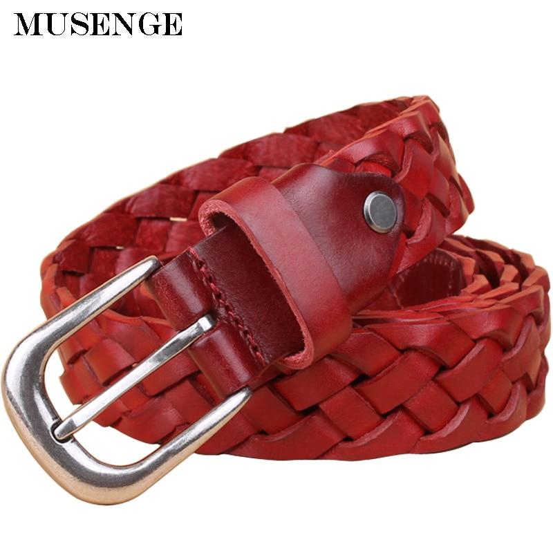 Mujer Cinturón trenzado señora cuero genuino de cinturon mujer correas para las mujeres jeans ceinture femme cinto feminino primera capa femme