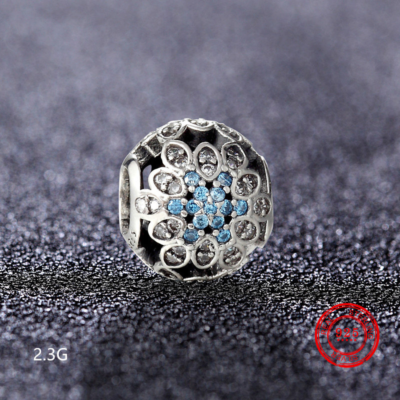 925 Sterling Silver Blue Glamour Crystal Beads Zircon CZ Beads Suitable for Pandora DIY Jewelry Bracelet Family Gifts in Beads from Jewelry Accessories