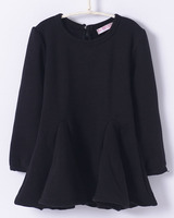 Fall 2017 Fashion Girl Kids Trendy Baby Clothes In Fleece for Winter Girls Dress Long Sleeve Black Grey Dresses