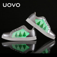 UOVO LED Luminous Screen Shoes kids usb charging boys & grils sport shoes glowing shoes casual sneakers lights Eur25-41#(China)