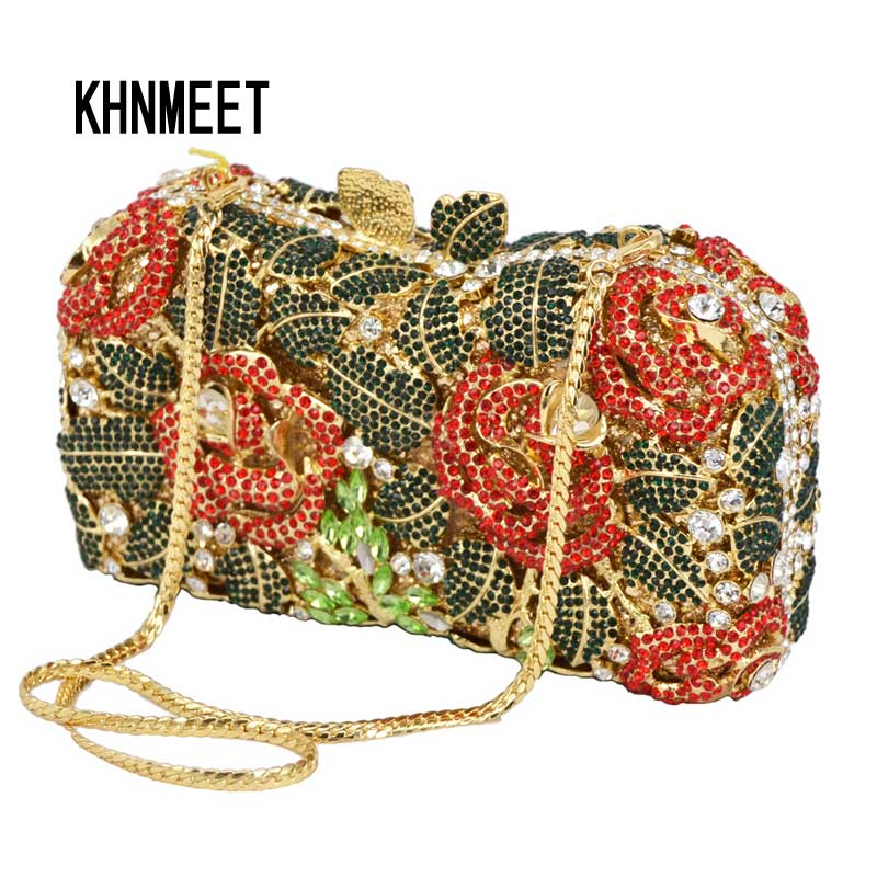 flower crystal rhinestone evening bag Luxury women clutch bag studded diamond evening clutches purse party pochette SC124 newest luxury crystal clutch bag flower female evening bag rhinestone diamond studded handbags women wedding bridal party purse