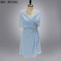 จริงรุ่นA Ppliquesพรรคชุดสีฟ้าชุดค็อกเทลที่มีผ้าคลุมไหล่