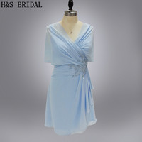 Real Model Appliques short party dress light blue cocktail dresses with shawl