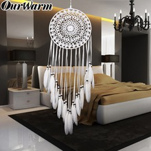 OurWarm Wall Hanging Dream Catcher Handmade Big Large Circle Living Bedroom Dreamcatcher Shabby Chic Craft For Girls