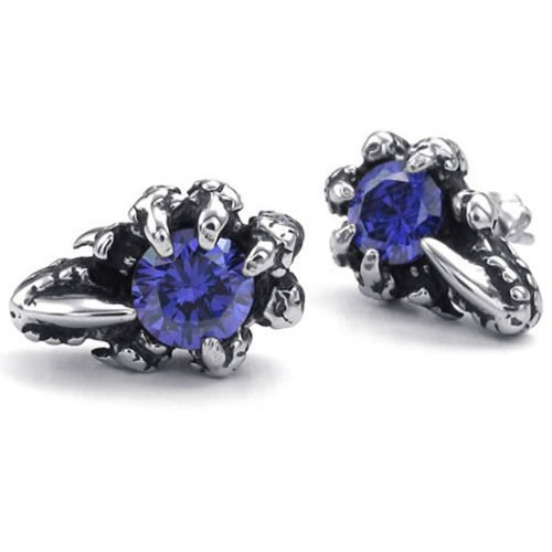 Mens Cubic Zirconia Stainless Steel Gothic Dragon Claw Stud Earrings, Blue Silver