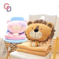 D9 Cartoon Dog plush pillow Cat&lion toys for children gift contain plush flannel blanket bedroom cushion