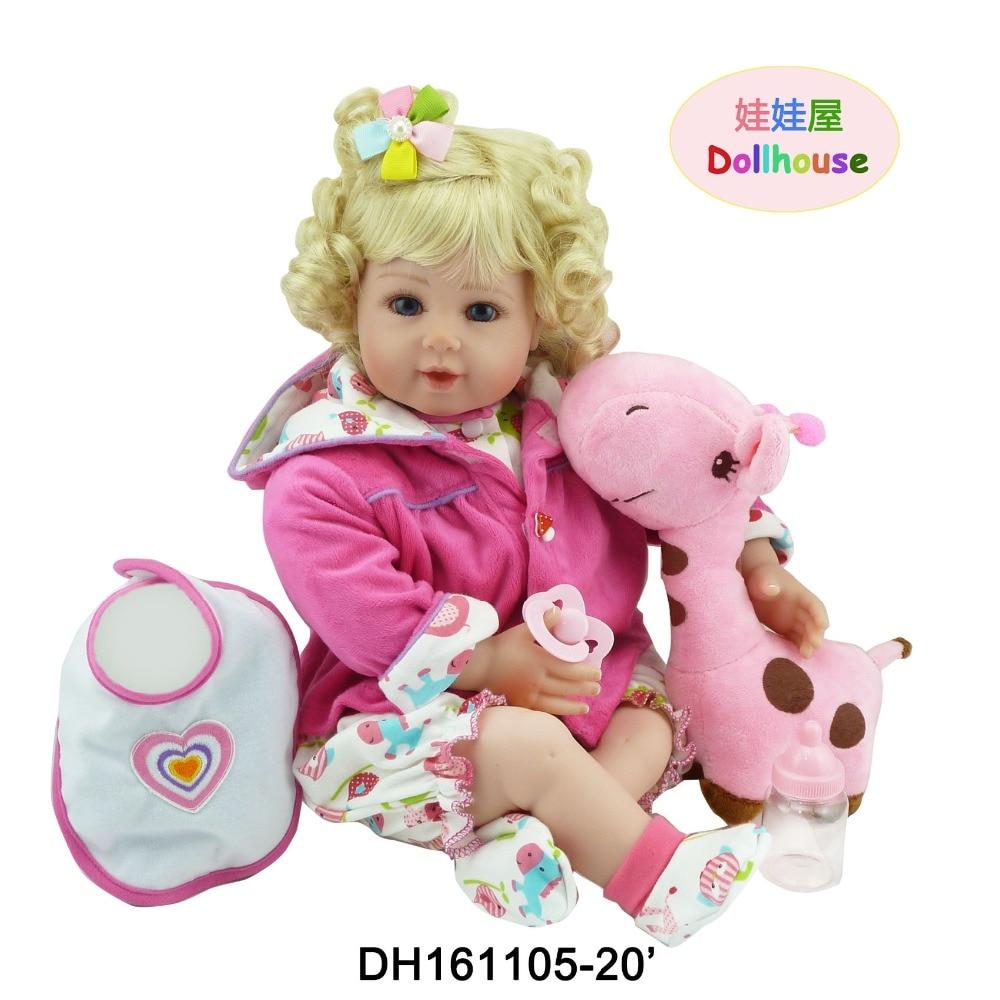 22 Soft Vinyl Boneca Reborn Doll Blue Eyes Blonde Hair Toddler Baby Doll in Lovely Clothes