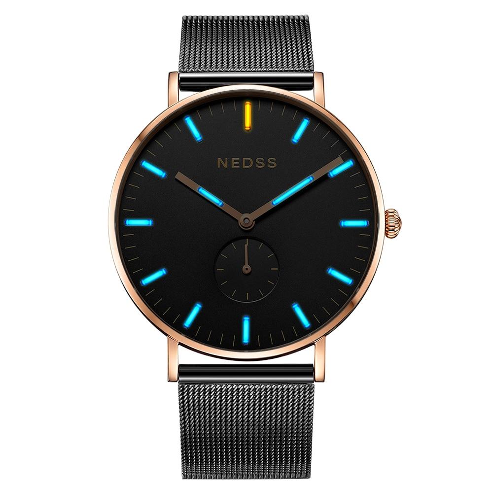 NEDSS бренд DW стили мужские часы, часы для пары мужские часы из нержавеющей стали сапфировые тонкий корпус сетка Группа Тритий Пара часы