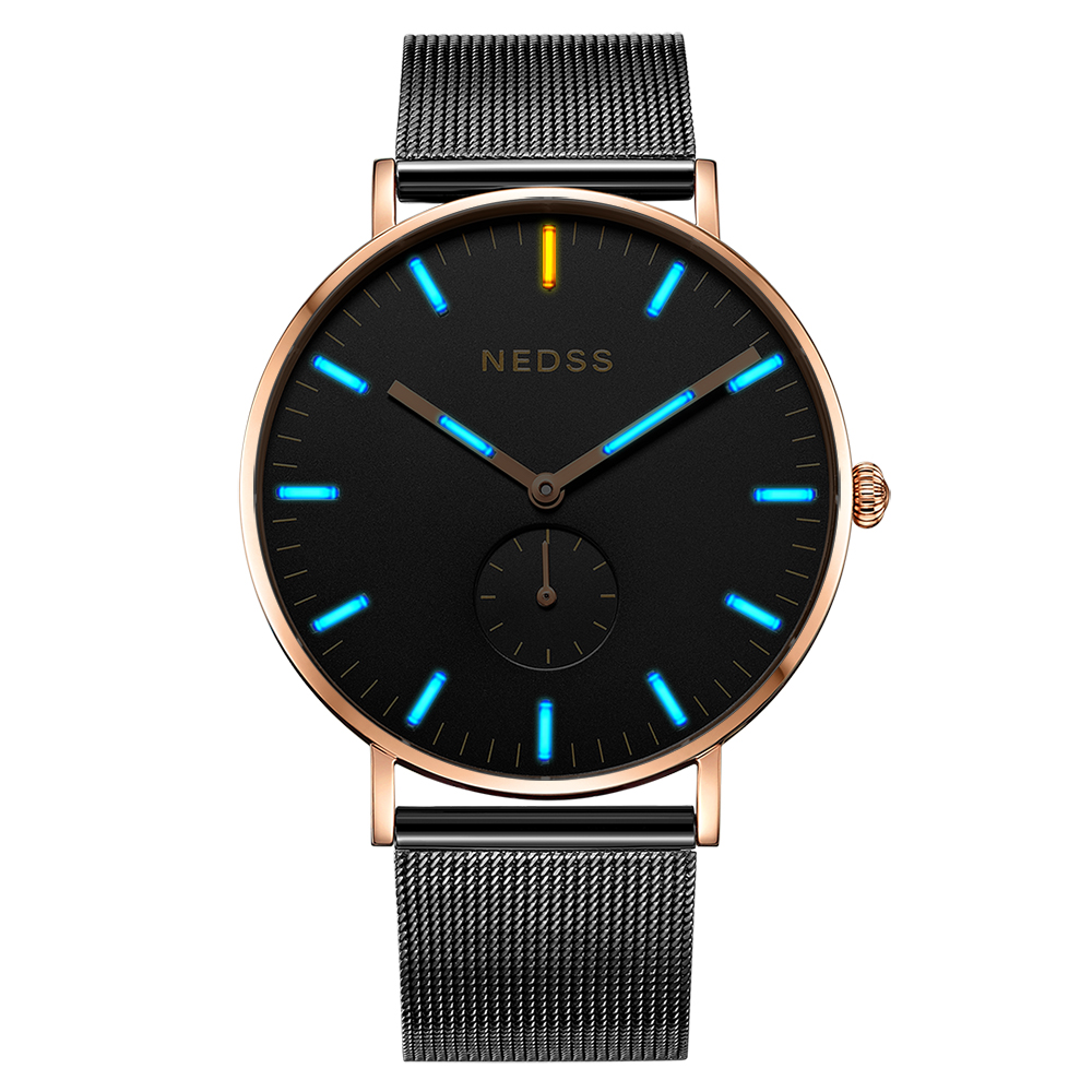 Nedss бренд DW стили человек часы любителей смотреть Мужские часы из нержавеющей стали сапфир Тонкий чехол Сетка Группа Тритий пару часов