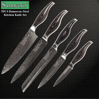 Sunnecko 5PCS Kitchen Knife Set Utility Chef Knives 73 Layers Japaness Damascus VG10 Steel Sharp Pakka Wood Handle Cooking Tools