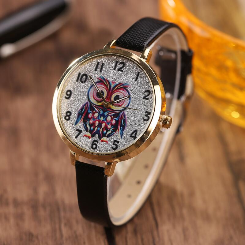MINHIN Women Cute Leather Strap Watches Owl Design Student Quartz Wristwatches Ladies Casual Dress Bracelet Wrap Watches Gift