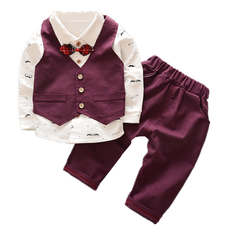 2018 New Spring Autumn Baby Boy Clothes Children Avtive Cartoon Bear Clothing 3pcs Sets Boys Kids Coat+T Shirt + Pants Cotton