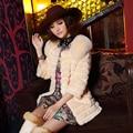Bienes naturales genuinos completa pelt rabbit fur coat con piel de zorro del hombro moda mujer toda la piel de lujo de la chaqueta tamaño grande 3XL