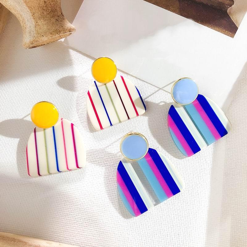 Korean Fashion Earrings 2019 New Stripes Rainbow Geometric Drop Dangle Earrings For Women Top Design Party Jewelry in Drop Earrings from Jewelry Accessories