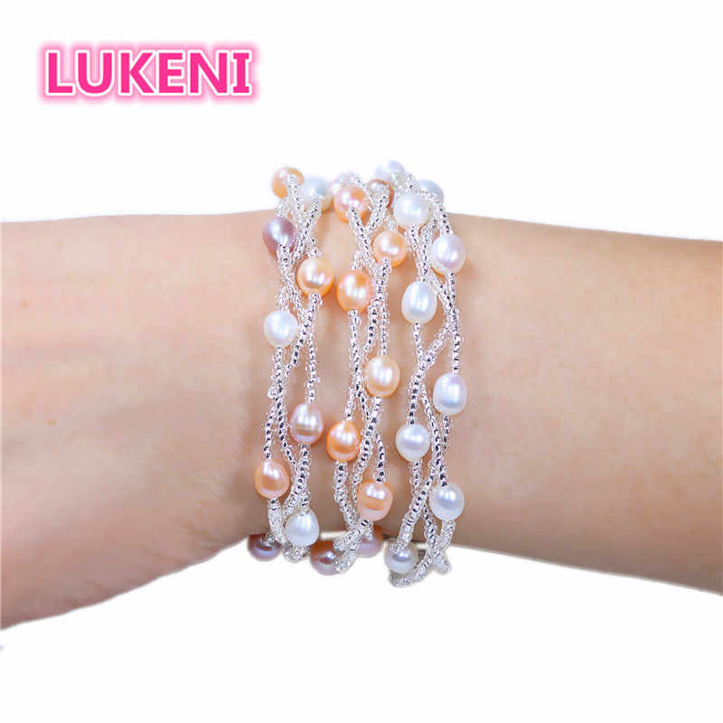 pearl bracelet Multiple rows Multicolor natural  pearl bracelet Fashion bracelet for women Free shipping Wholesale and Retail  E