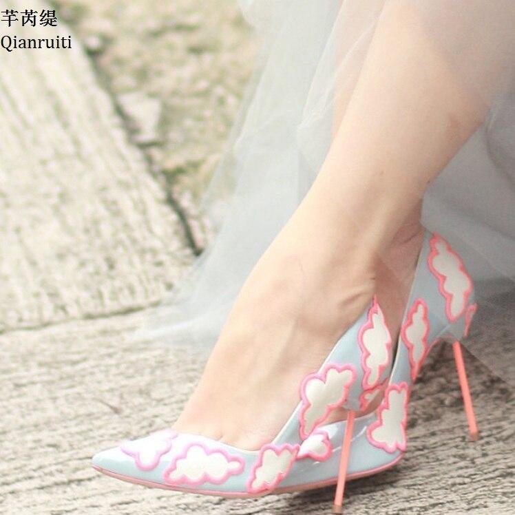 Cuir Femmes En Verni Slip Mariage Pompes Stiletto on Mariée Appliques Hauts Bout De Qianruiti Blue Pointu Light Chaussures Talons FqCwn5xF1