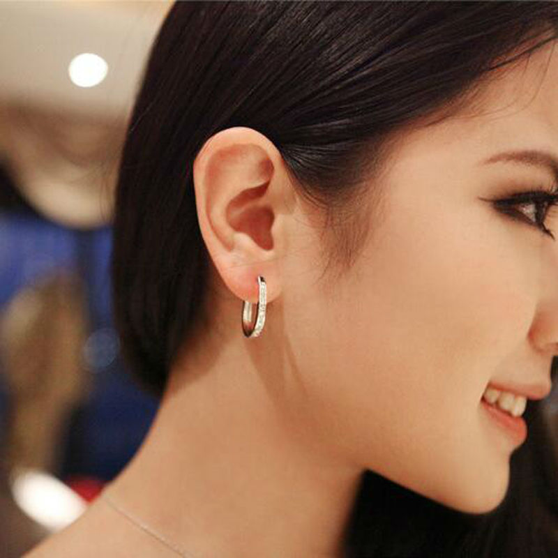 Shining Crystal Round Gold Earrings High Quality Hoop Women Hiphop Charms Channel Fine Jewelry In From
