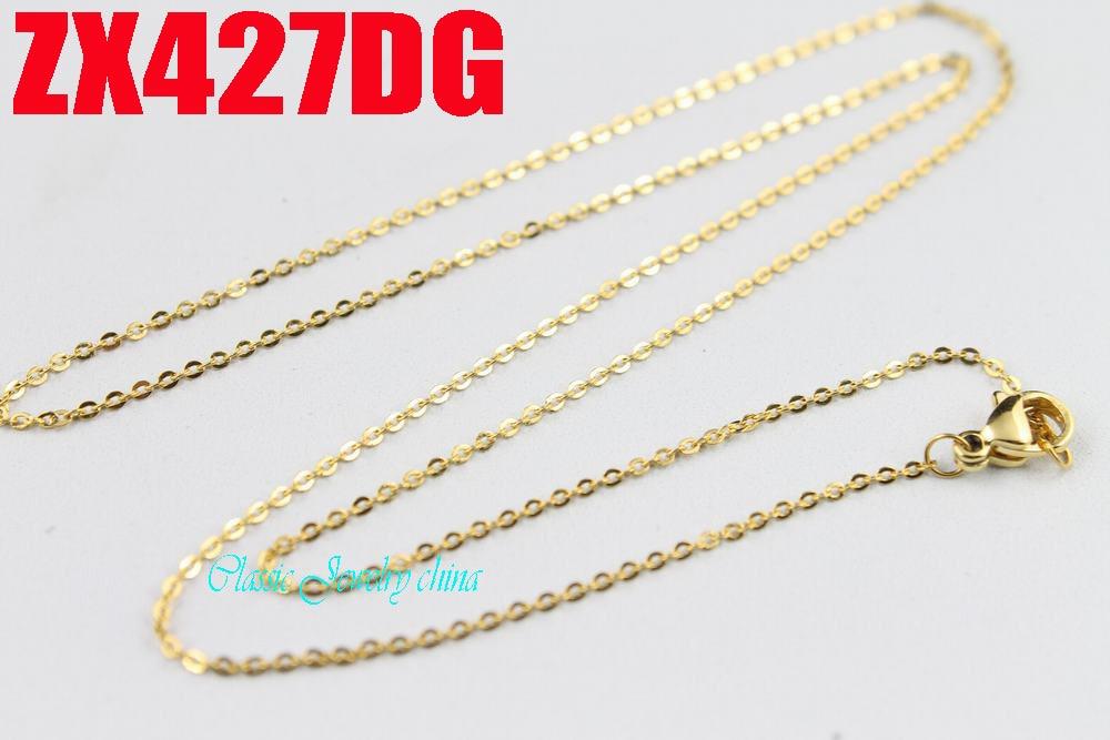 Warna emas 1.2mm lintas rantai rantai tipis stainless steel kalung fashion wanita perhiasan, kalung kecil 20 pcs ZX427DG