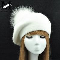 النساء القبعات قبعة الشتاء الإناث عارضة التريكو الصوف القبعات مع الطبيعية الراكون الفراء بوم بوم الربيع السيدات بلون البيريه القبعات