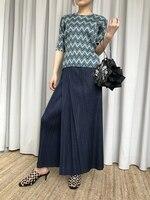Spring and summer new Miyake folding high waist wide leg pants irregular women pleated free ship
