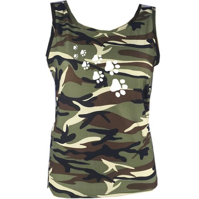 Camouflage Dog Paw Print T-Shirt Women