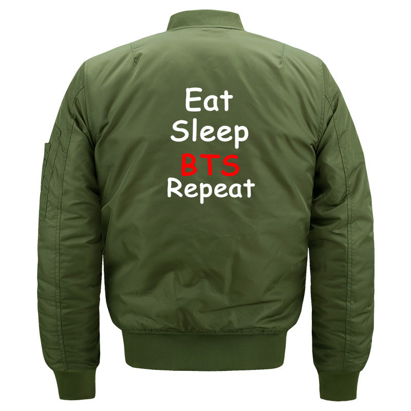 Cute Kpop BTS Aesthetic Bomber Jacket for Women and Men Kawaii Girls Eat Sleep BTS Repeat Quilted Bomber Jackets Plus Size S-5XL 1
