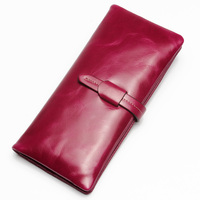 2016 Vintage 100 Oil Wax Leather Wallet Women Genuine Leather Brand High Quality Long Ladies Leather