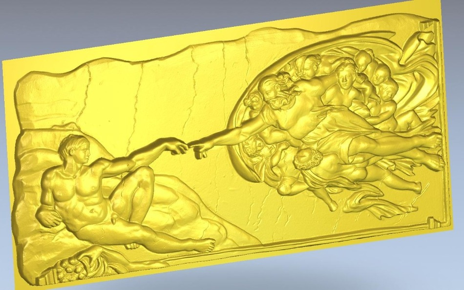 3d  Model Relief Panno_creation_Adam  For Cnc In STL File Format